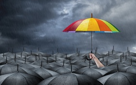 Картинка hope, cheerful bright colors, umbrella, darkness, gray