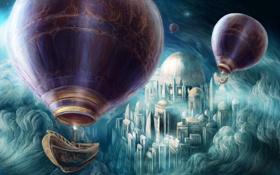Обои небо, город, воздушные шары, корабли, арт