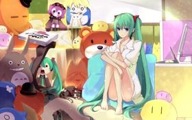 Картинка пицца, vocaloid, игрушки, компьютер, девушка, hatsune miku, комната