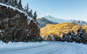 Картинка зима, дорога, горы