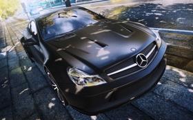 Картинка машина, город, Mercedes, Benz, ракурс, Black Series, SL65