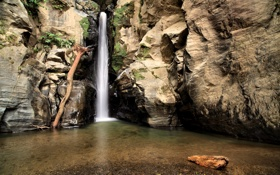 Обои скалы, озеро, водопад