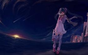 Обои девушка, закат, вечер, аниме, вокалоид, мику