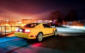 Обои отражение, жёлтый, Mustang, Ford, тень, Форд, Мустанг