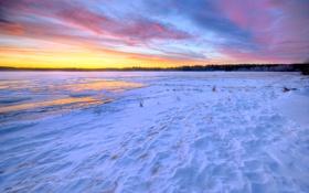 Обои закат, облака, небо, зима, снег, озеро