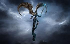Обои девушка, тучи, крылья, меч, арт, в небе, доспех
