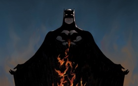 Картинка костюм, Бэтмен, Batman, DC Comics, поза, пламя