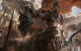 Обои крылья, голова, лук, чудовище, стрелы, кентавр