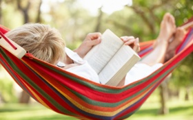 Картинка relax, hammock, reading a book