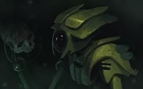 Обои робот, фантастика, sci-fi, череп, арт, пришелец