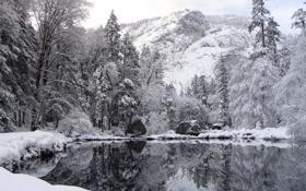 Обои зима, снег, озеро, отражение, гора, winter nature