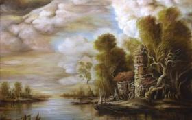 Обои деревья, пейзаж, тучи, дом, река, лодка, картина