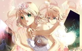 Обои девушка, бабочки, арт, Vocaloid, Kagamine Rin, Вокалоид, hmniao