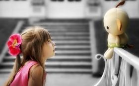 Обои настроение, кукла, девочка