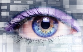 Обои abstract, desktop, glass, eyes, purple, imagination, creation