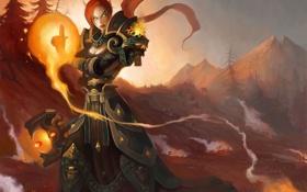 Обои эльфийка, девушка, арт, магия, Paladin, World or Warcraft, Lynesta