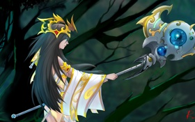Обои девушка, деревья, фон, профиль, посох, League of Legends, Janna