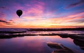 Картинка закат, облака, небо, воздушный шар, вода, море, Пейзаж