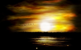 Обои пейзаж, закат, птицы, природа, река, рисунок, вечер. солнце