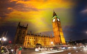 Обои небо, ночь, город, фото, Лондон, дороги, дома