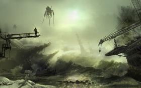 Обои порт, пришельцы, роботы, кран, волны, человек