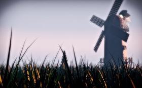 Обои трава, пейзаж, природа, дерево, мельница, grass, windmill