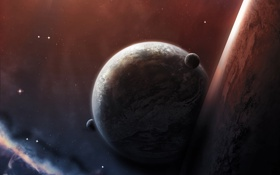 Картинка космос, звезды, туманность, планеты, тень, атмосфера, спутники