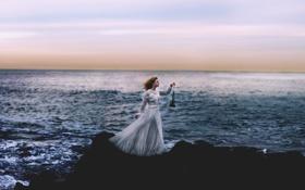 Картинка море, девушка, лампа