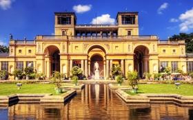 Картинка памятник, газон, фонтан, Германия, Potsdam, дворец