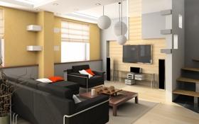 Обои телевизор, кресло, столик, окно, лестница, диван, гостиная