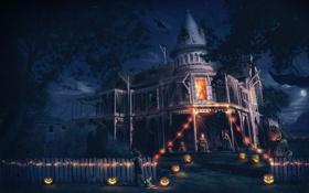 Картинка дом, мальчик, арт, Хэллоуин, Helloween
