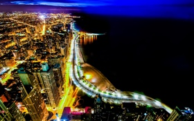 Обои река, ночь, огни, город, Иллиноис, chicago, небоскребы