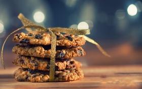 Обои печенье, лента, бант