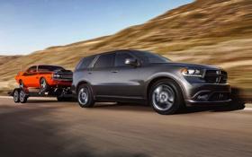 Картинка Dodge, Challenger, road, автомобили, cars, прицеп, speed