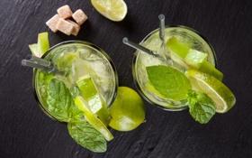 Обои коктейль, ice, drink, mojito, cocktail, lime, мохито