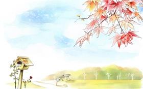 Обои дорога, листья, деревья, скамейка, рисунок, красные, скворечник