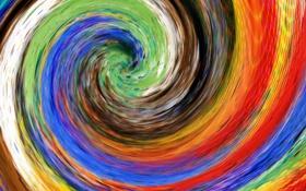 Картинка цвет, спираль, линии, абстракция, холст, водоворот, радуга