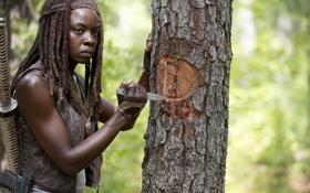 Картинка дерево, нож, The Walking Dead, Ходячие мертвецы, Michonne, Danai Gurira