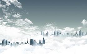 Обои облака, креатив, здания, небоскрёбы