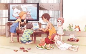 Картинка карты, лето, дети, арбуз, телевизор, ноутбук, пёс