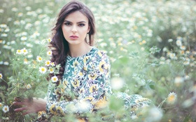 Картинка ромашки, макияж, платье, цветочки, Mercedes Peña