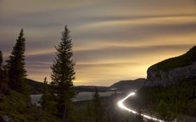 Обои дорога, свет, горы, ночь, огни, трасса, Канада