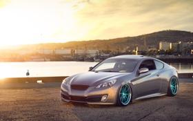 Картинка город, рассвет, тюнинг, Hyundai, Coupe, stance, Genesis
