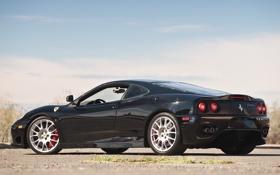 Обои небо, черная, феррари, вид сзади, 360, Ferrari 360, Challenge Stradale