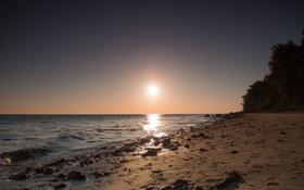 Картинка песок, море, камни, утро, прибой