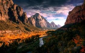 Картинка осень, горы, река, долина