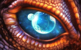 Обои космос, макро, глаз, дракон, планеты, чешуя, арт