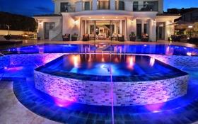 Картинка ночь, дизайн, огни, дом, вилла, бассейн, фонари
