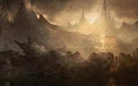 Картинка горы, город, замок, скалы, арт, ущелье