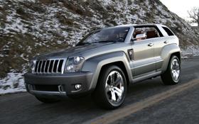 Обои white, горы, небо, jeep, дорога